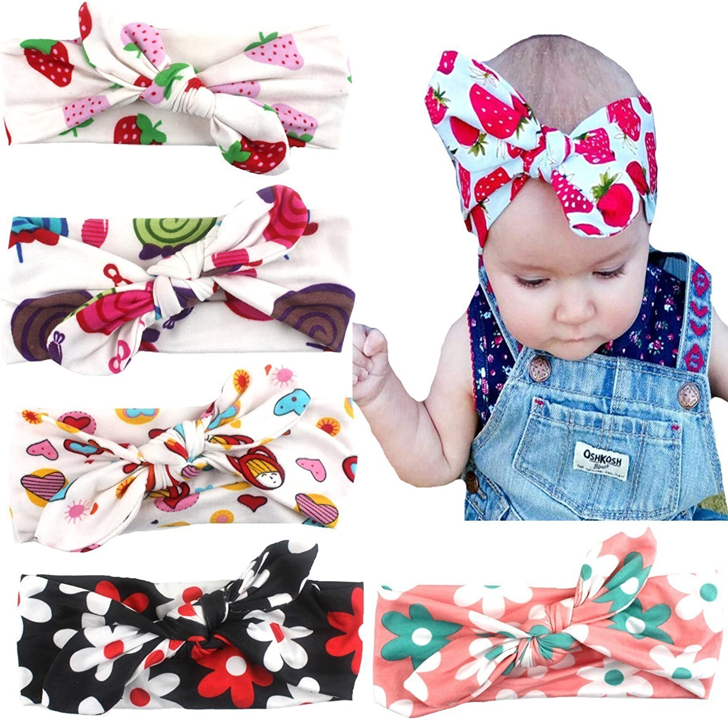 American Trends Baby Girl Newest Turban Headband Head Wrap Knotted Hair Band E-6 Pairs-Mix Color