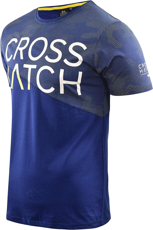 Mens Crosshatch T-Shirt Crew Neck Diag Contrast Top Tee