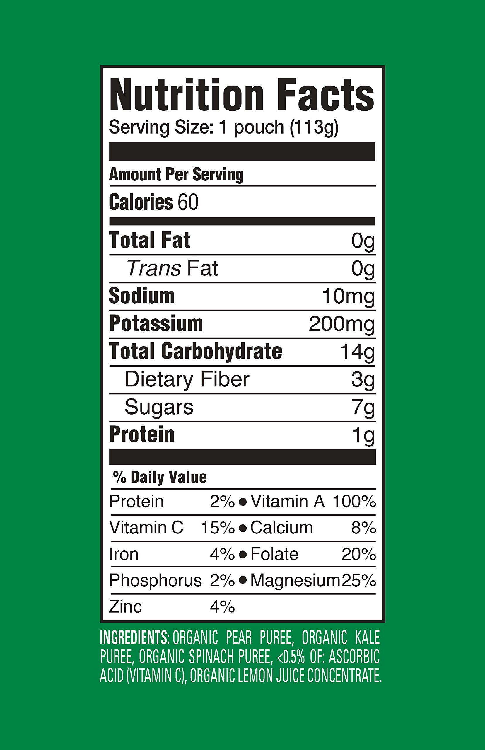 Happy Baby Clearly Crafted, Organic Baby Food, Stage 2, Pears, Kale & Spinach, 4.0oz Clear Pouch (16 Count)