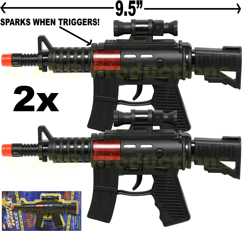 2x Toy Guns M-16 Machine Gun /& Colt.45 Pistol Dart Gun w// Police Gear Set