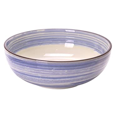 Spiceberry Home White Porcelain Salad Serving Bowls with Blue Wash Glaze 7.75x2.75-Inch