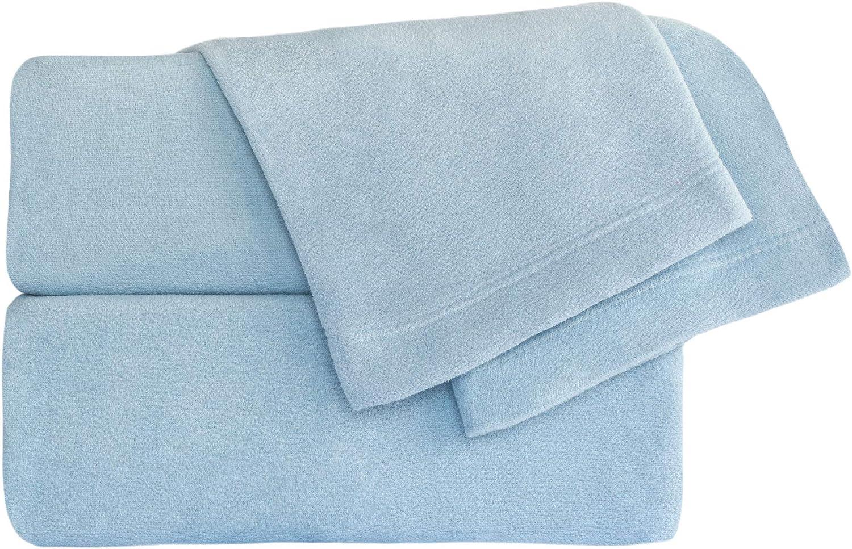 Chic 4pc FULL Blue /& White Snowflake Micro Fleece Sheet Set