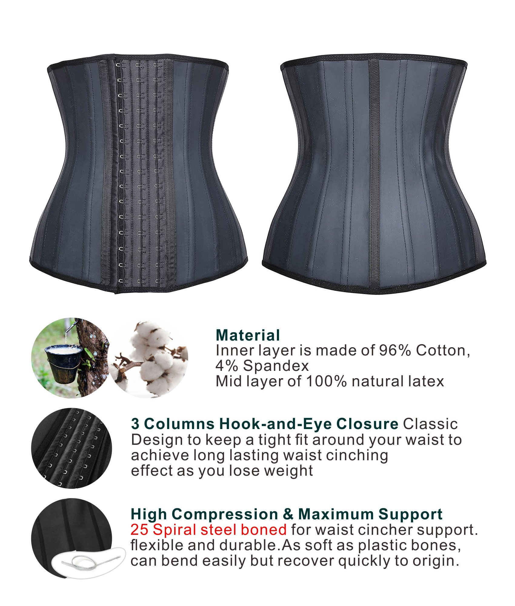 336ab62729d SHAPERX Camellias Women 25 Steel Boned Latex Waist Trainer Corset for  Weight Loss Waist Cincher Body Shaper Slimmer Tummy Control Shapewear Black  ...