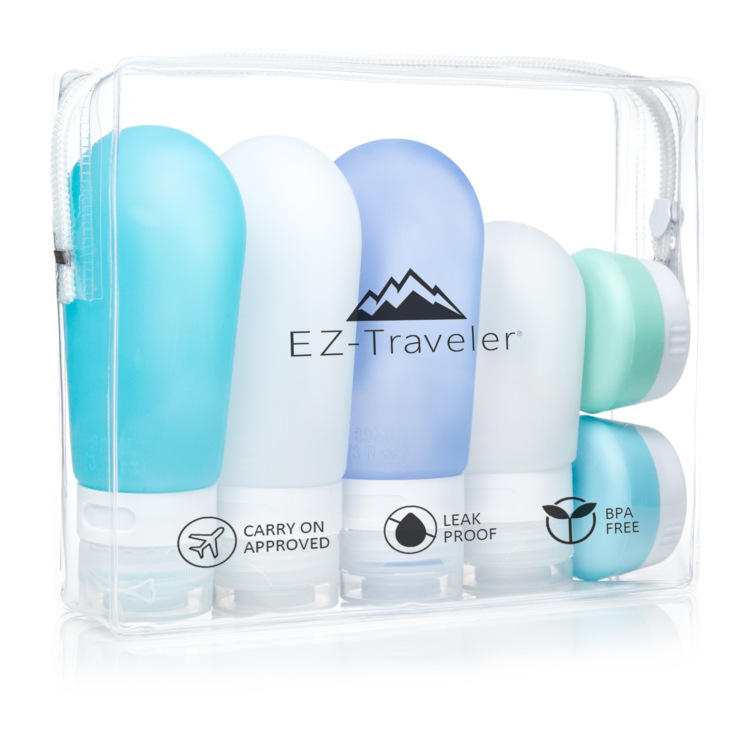 Silicone Travel Bottles & Toiletry Bag - Leak Proof, Refillable Shampoo, Lotion and Conditioner Containers. TSA & Airline approved by EZ-Traveler