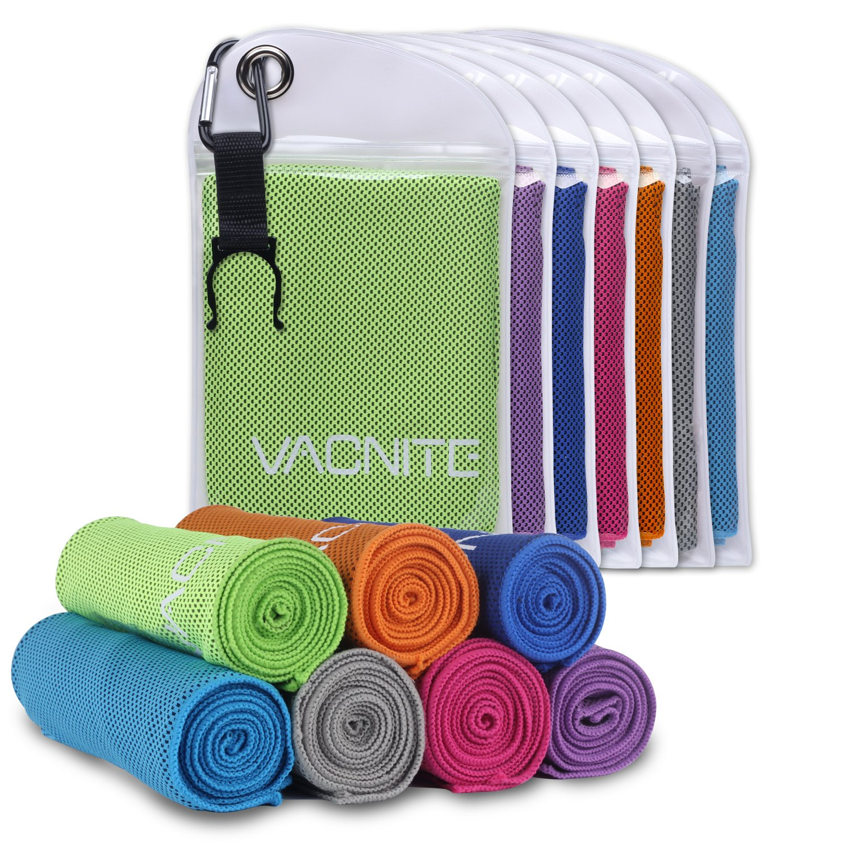 VACNITE クールタオル 速乾タオル 超吸水 軽量 速乾 熱中症対策 100×30cm 7色 防水袋付き