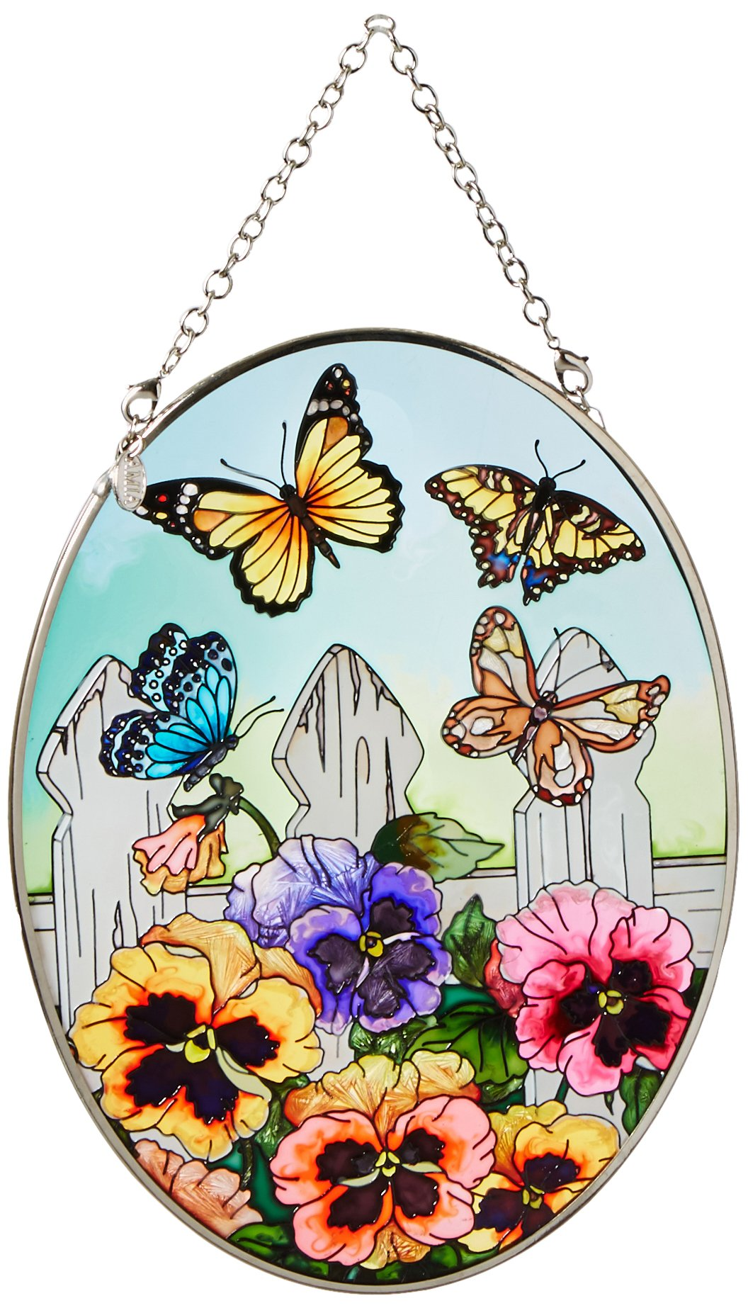 Amia 5858 Medium Oval Suncatcher with Pansy and Butterfly Design, Hand-painted Glass, 5-1/2-Inch W by 7-Inch L