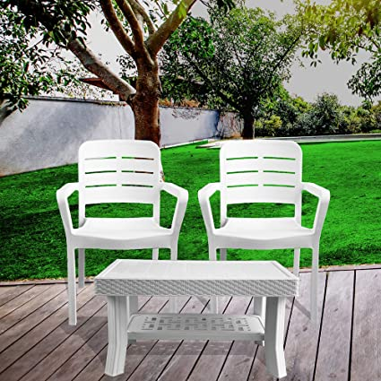 Italica Furniture - Armchair and Table Combo - Indoor and Outdoor Furniture Set  (3015 & 9503, White, Set of 2 Chairs)