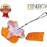 F1TNERGY, paracadute per resistenza durante la corsa, durevole e di alta qualità, 142,2cm, arancione con borsa di trasporto, massimizza l'accelerazione, per allenamento di calcio.