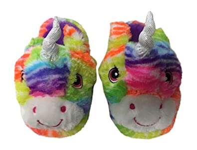 Girls Plush Multi-Color Rainbow Unicorn Slippers Scuff Style House Shoes 13- 1 f47f74f51