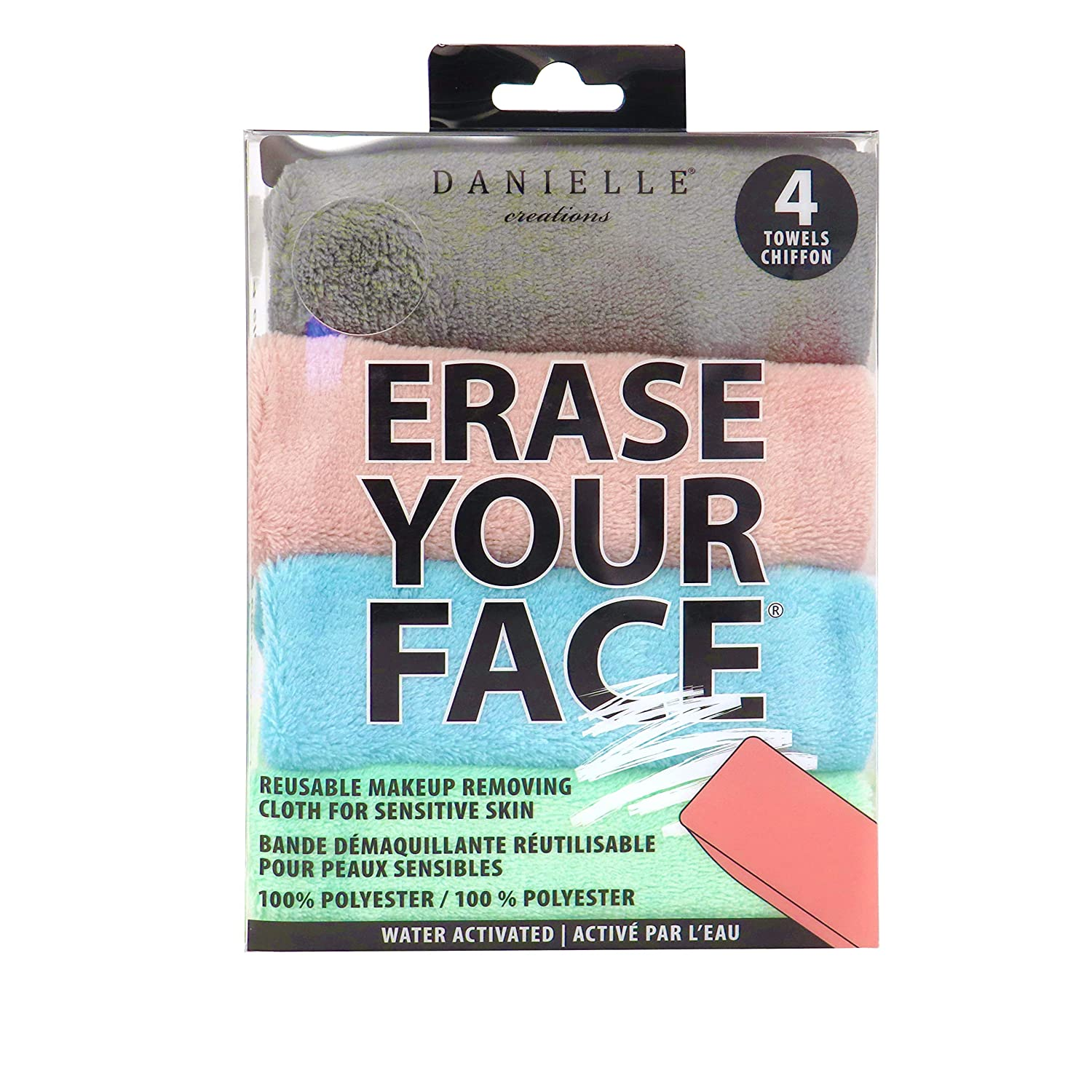 Erase Your Face Makeup Removing Cloth by Danielle in Pastel - 4 Pack