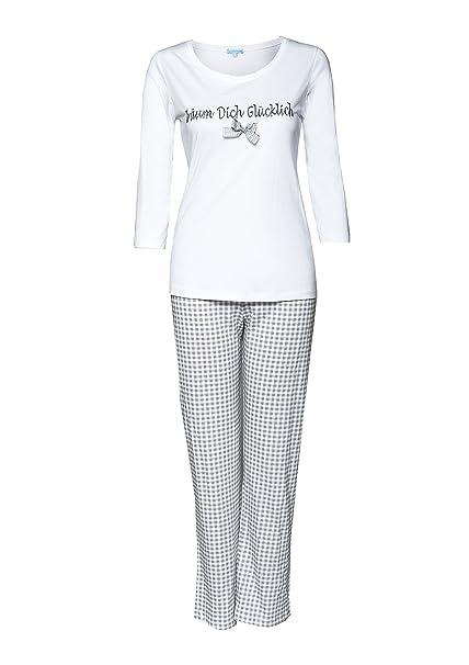 Louis & Louisa - Pijama - para Mujer Blanco Blanco/Gris XXL