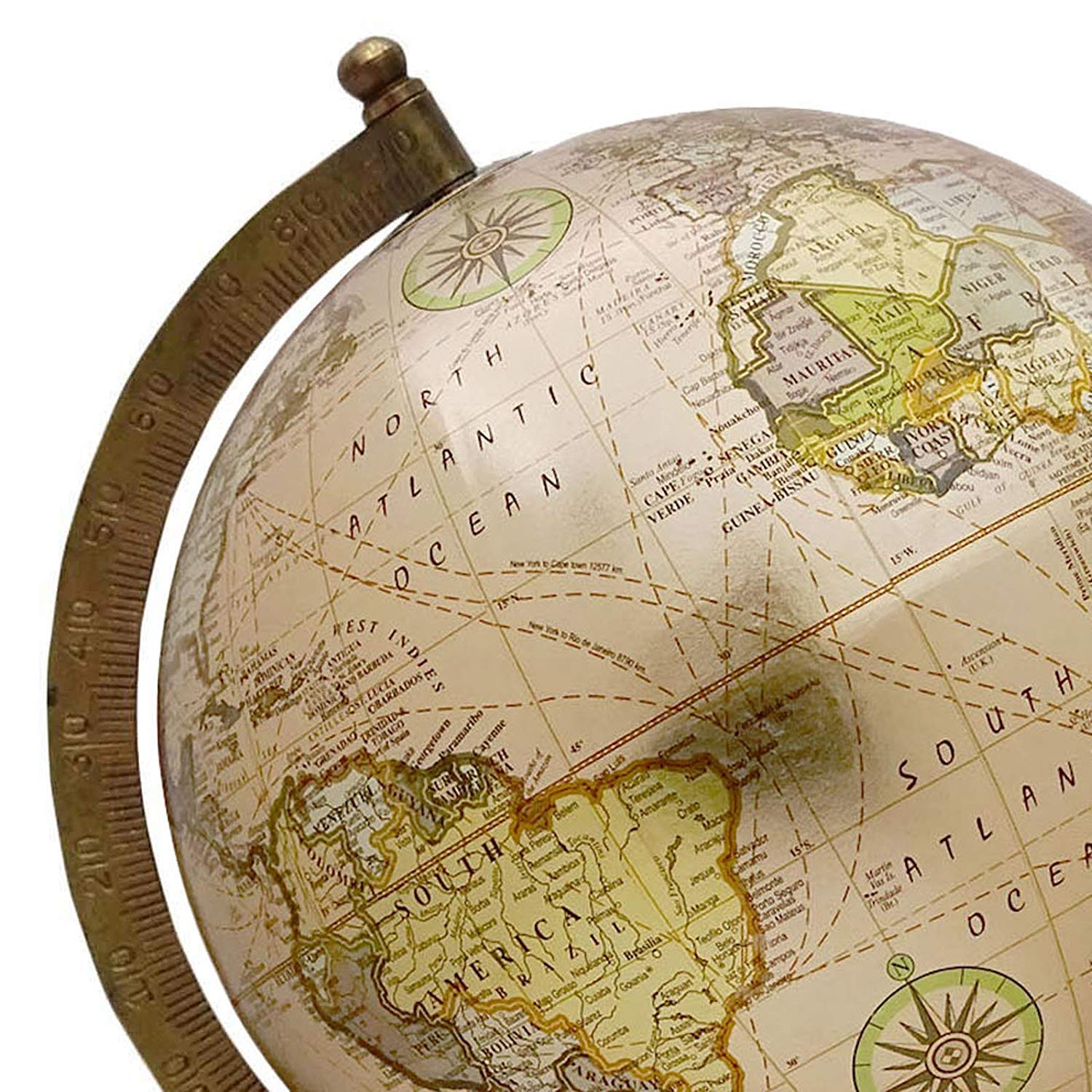 13 Decorative Rotating Earth Globe Beige Ocean World Geography Home Decor Perfect for Home Office /& Classroom By Globes Hub