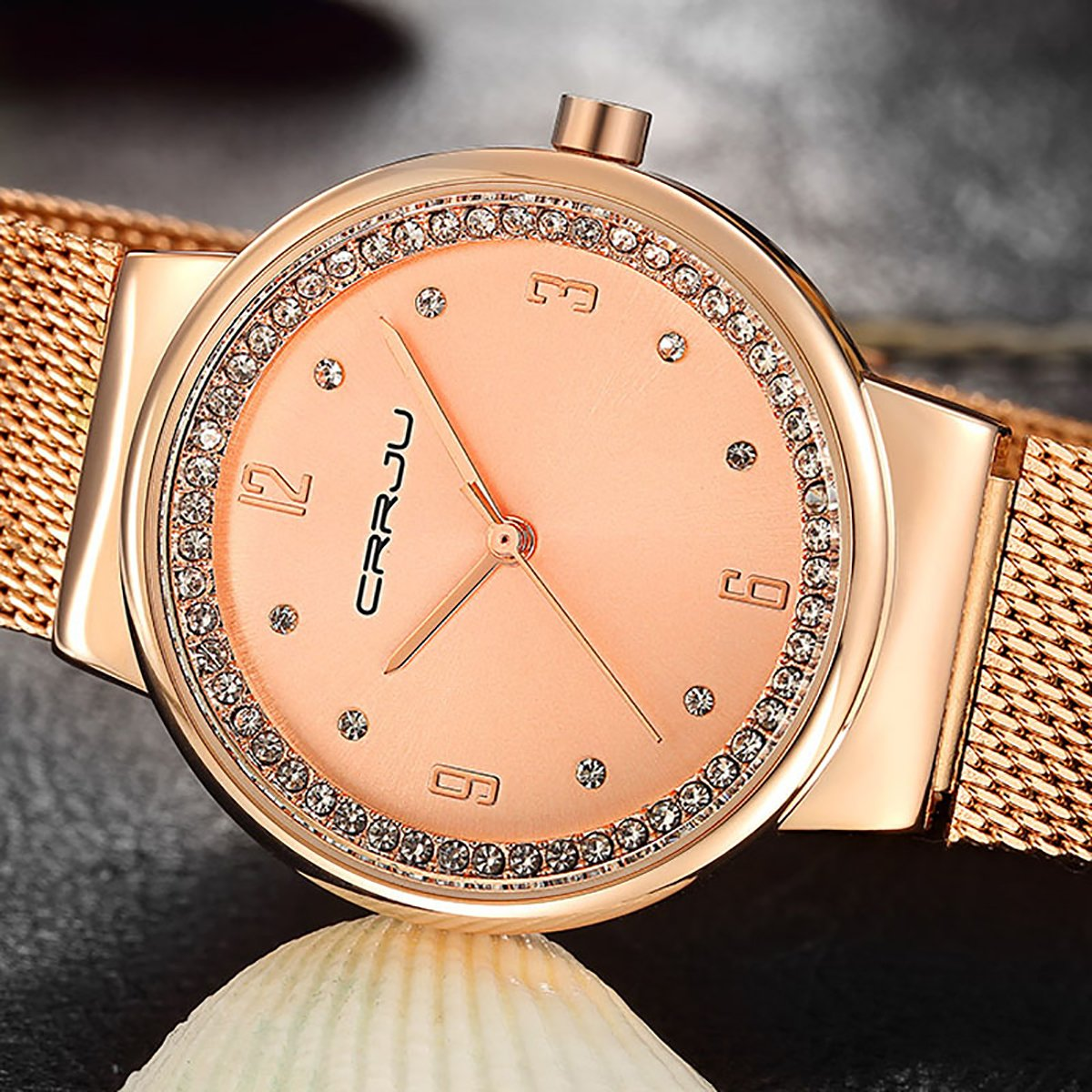 Modiwen Diamond Steel mesh impermeabile orologi da polso con movimento al quarzo vestito donna Leisure orologio braccialetto donna Rose Gold