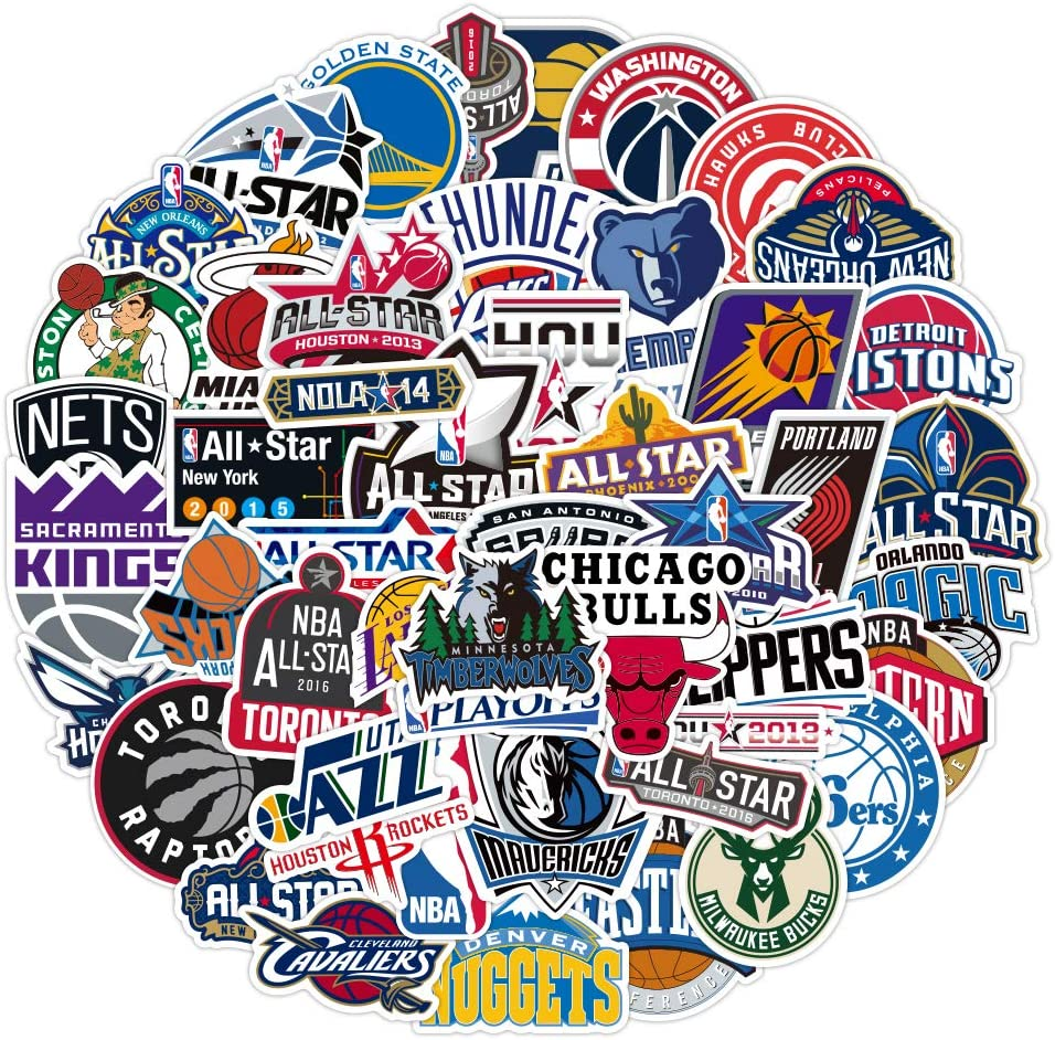 Basketball Team Logo for NBA Stickers(50pcs) Sports Stickers for Laptop Phone Water Bottles Computer Luggage Cars, DIY Party Supplies Patches Decal