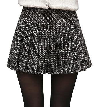 Chouyatou Women's Casual Plaid High Waist A-Line Pleated Skirt at ...