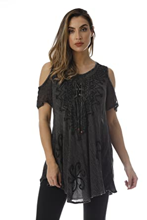 af22905be24 Riviera Sun Loose Cold Shoulder Lace up Embroidered Tunic Top Blouse ...