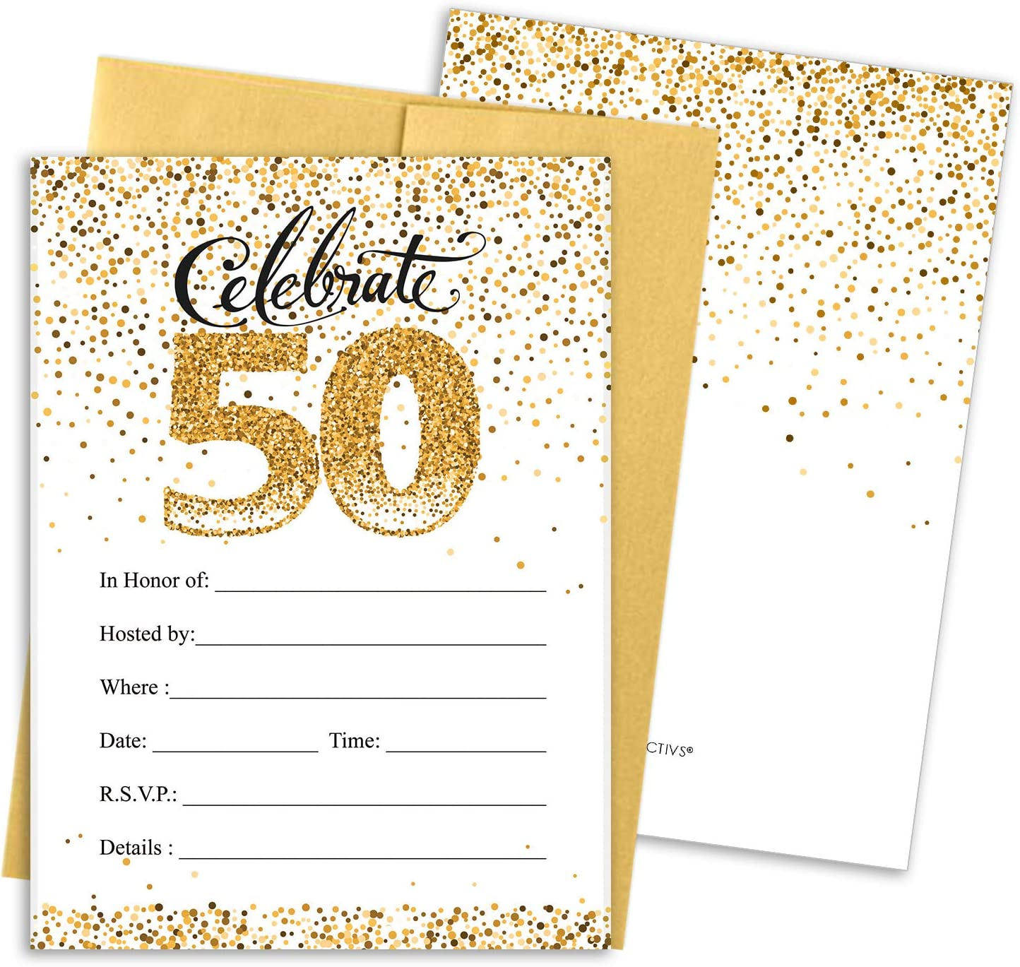 Amazon.com: White and Gold 50th Birthday Party Invitations - 10 Cards with  Envelopes: Health & Personal Care