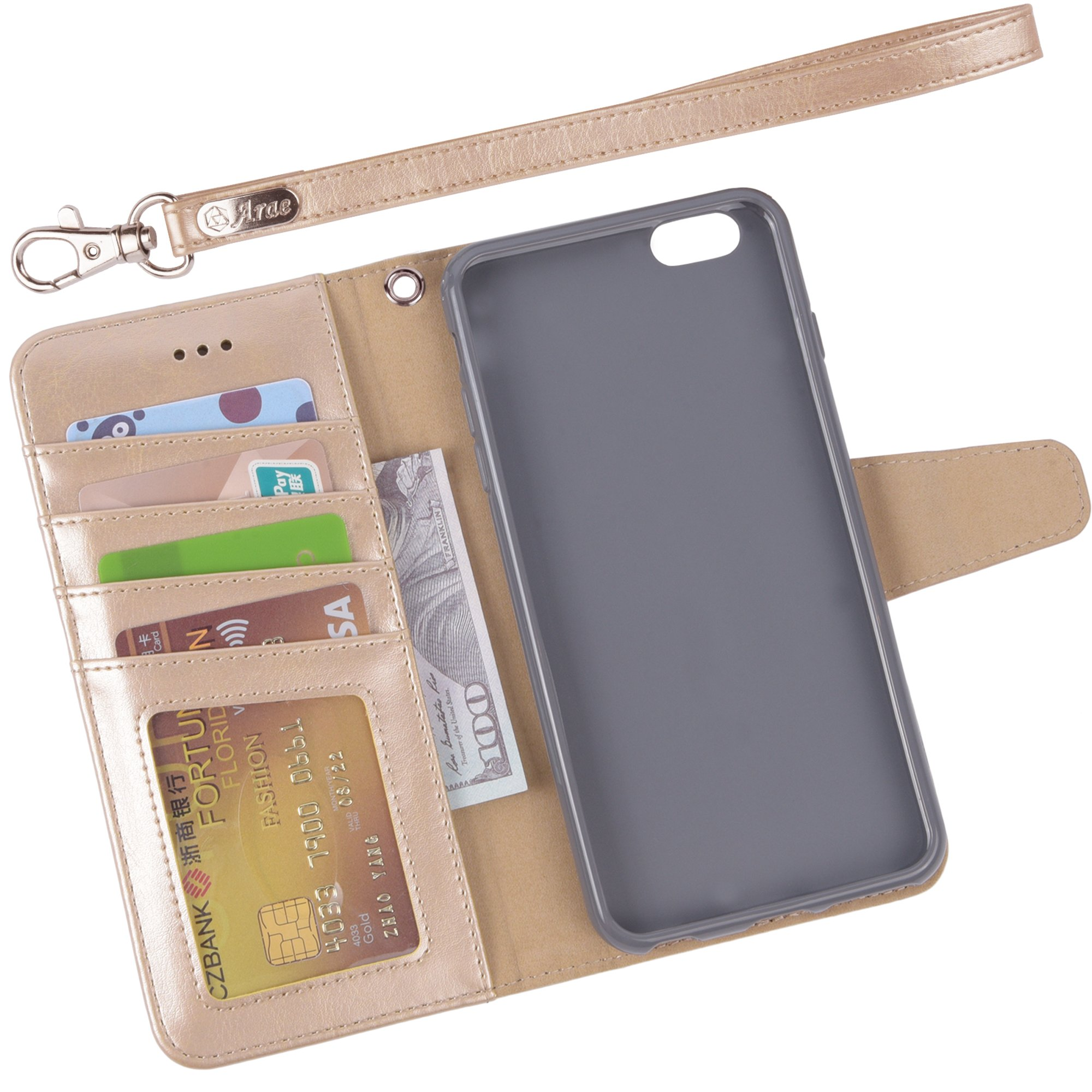 Iphone 6s Plus Case, iphone 6 plus case, Arae [Wrist Strap] Flip Folio [Kickstand Feature] PU leather wallet case with ID&Credit Card Pockets For Apple Iphone 6 plus/6S Plus 5.5 (champaign gold) by Arae (Image #3)