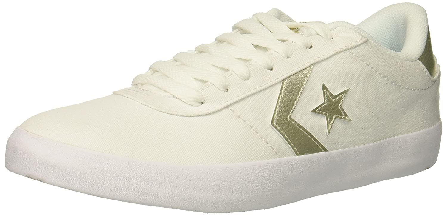 Converse Women's Sneaker Point Star Low Top Sneaker Women's B07CR9J6XJ 10 B(M) US|White/White/Gold 61074c