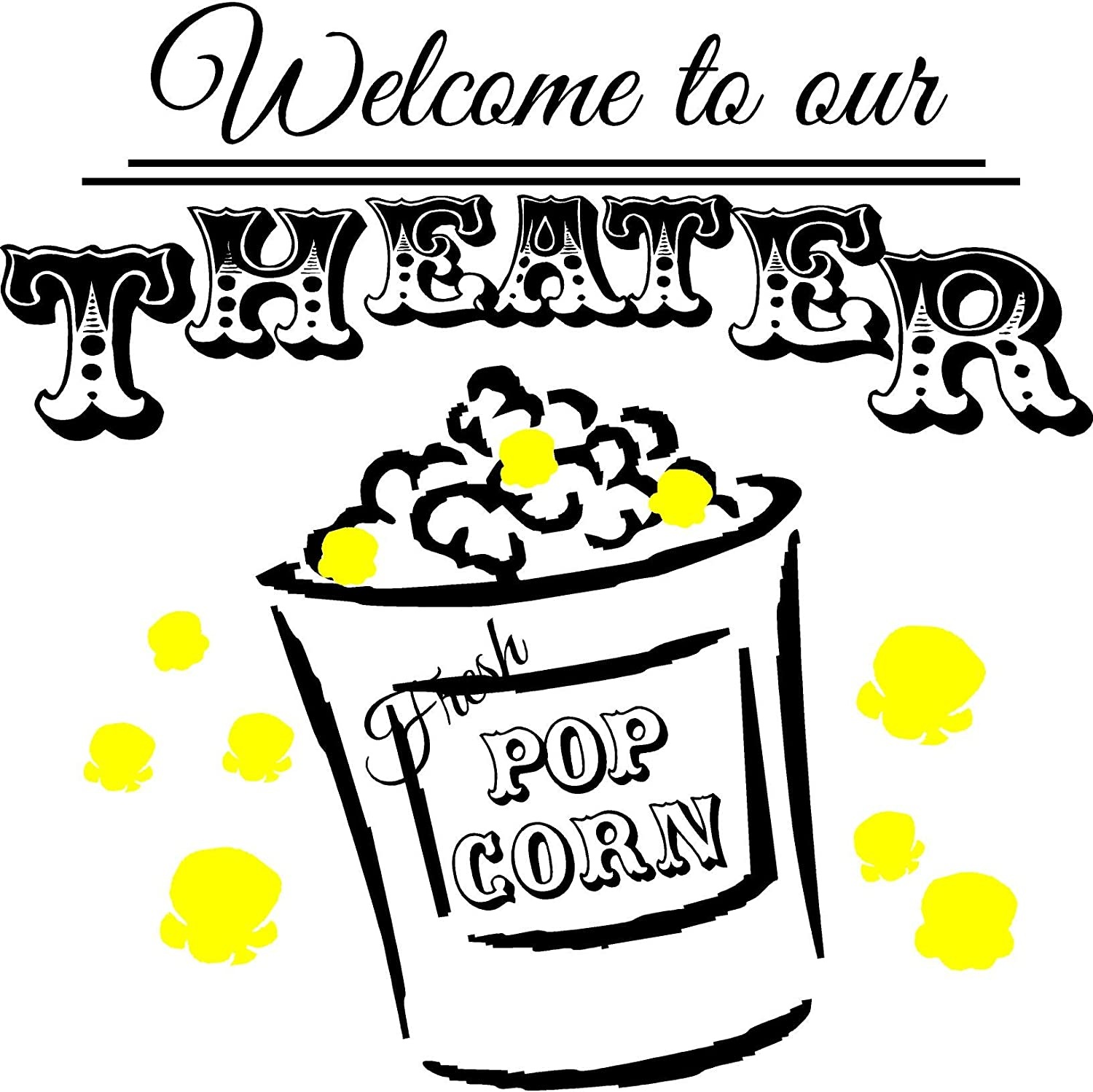 Walls with Style Welcome to Our Theater Popcorn Wall Art Decal Home Theater Movie Sticker (White)