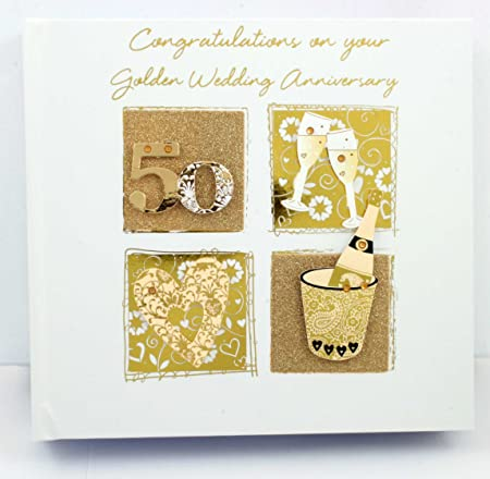 Gift For 50th Golden Wedding Anniversary Photo Album With 3d Design