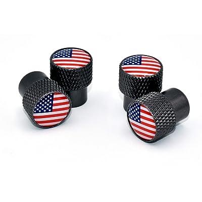 Elektroplate USA Universal Valve Stem Caps - Black Chrome Knurling: Automotive