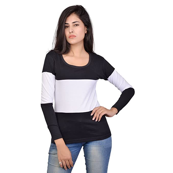 Fubura Womens Cotton Casual T-Shirts Round Neck Sports Trim Full Sleeve  with Black White a5cb84334f