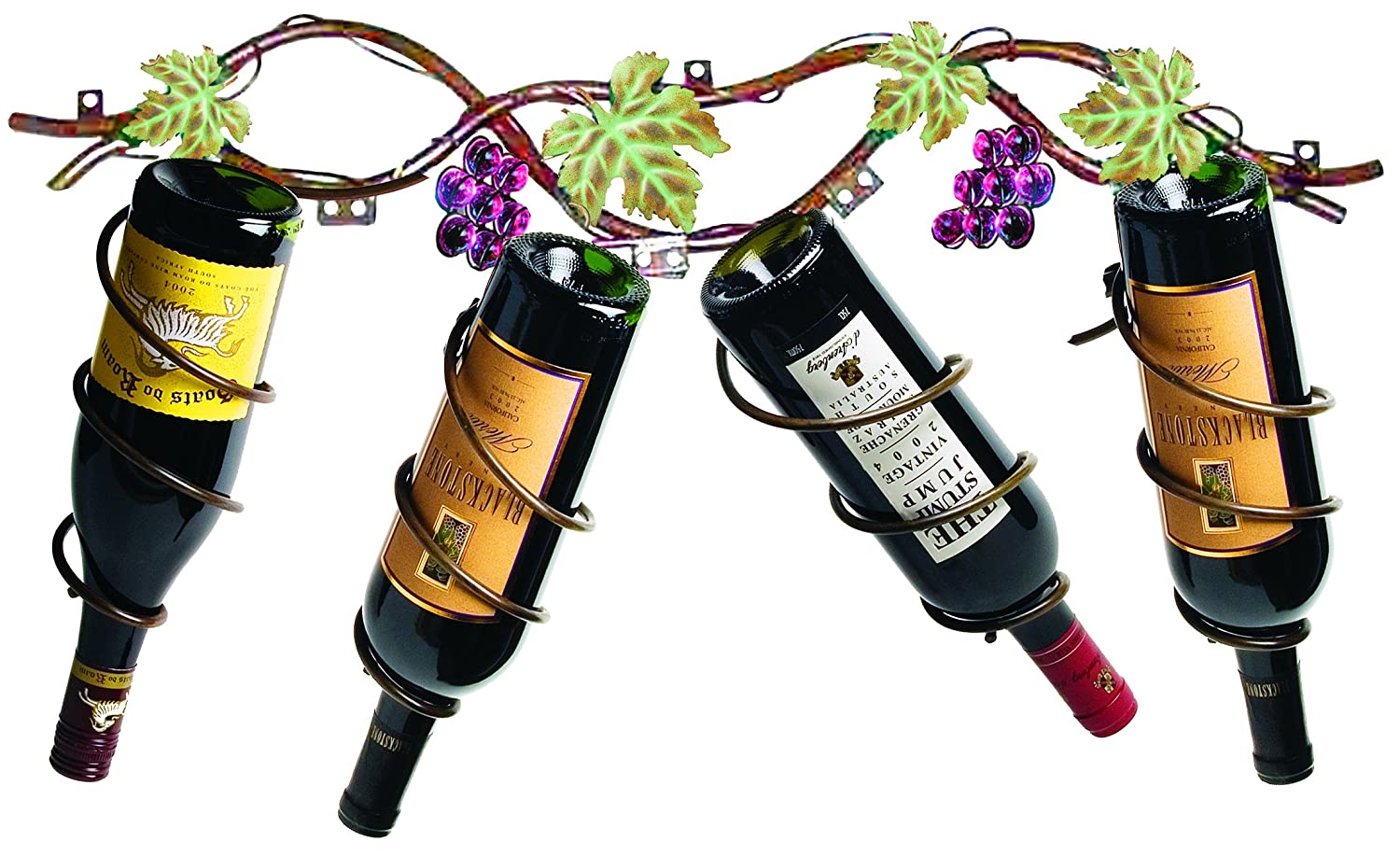 1 to 4 Bottle Wall-mounted Rack  Purple glass beads and green leaves accent