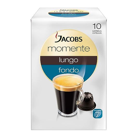 Jacobs Momente Lungo Fondo Cápsulas, adecuado para máquinas Nespresso, 10 pzs. de 5.6
