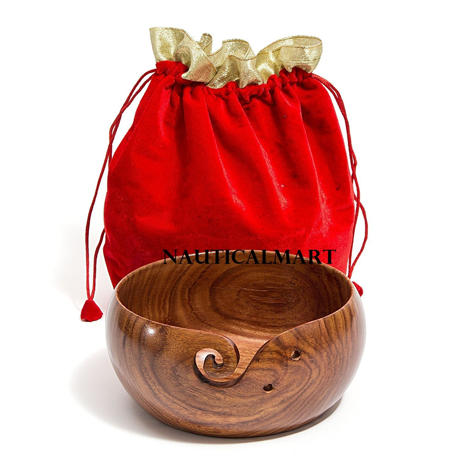NauticalMart Yarn Bowl -8''x4'' Rosewood Wooden with Free Travel Pouch. Extra Large. Perfect for Knitting & Crocheting