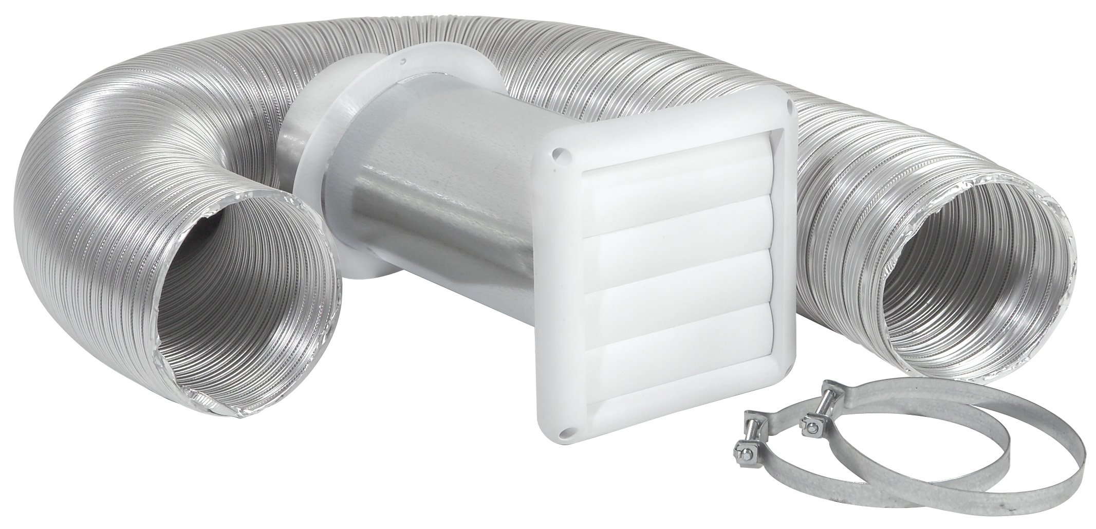 Imperial 4'' x 8-Foot Louvered Vent with Flexible Aluminum Ducting, Dryer Vent Kit, White, VT0156