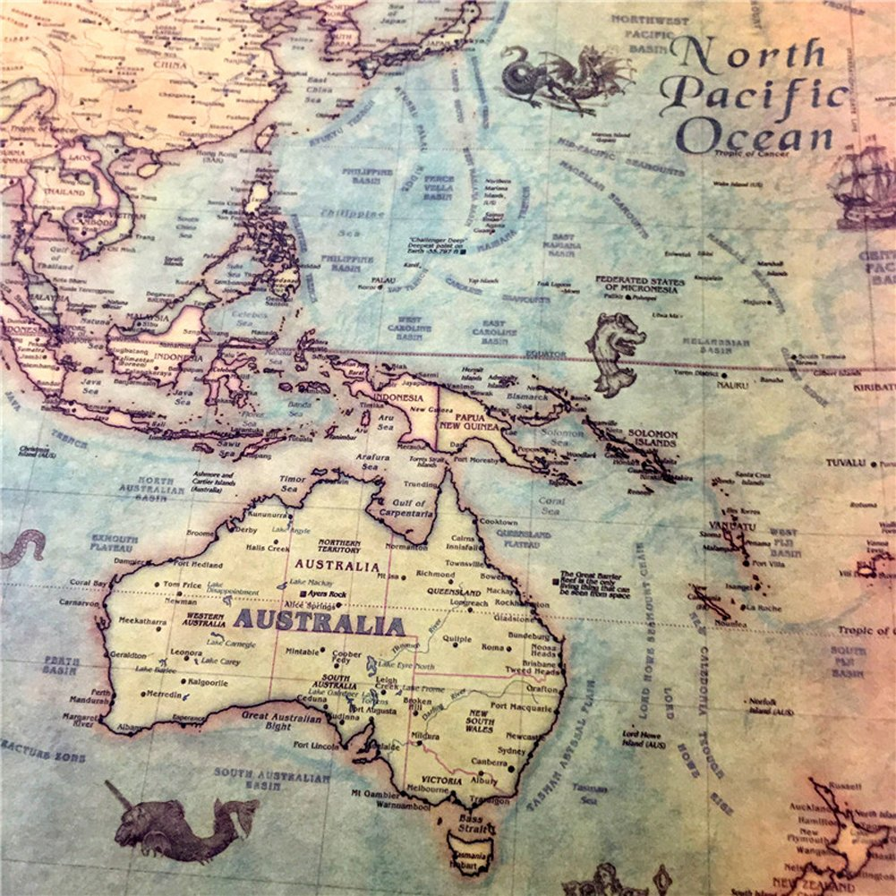 Nautical Ocean Sea World Map Retro Old Art Paper Painting Home Decor on