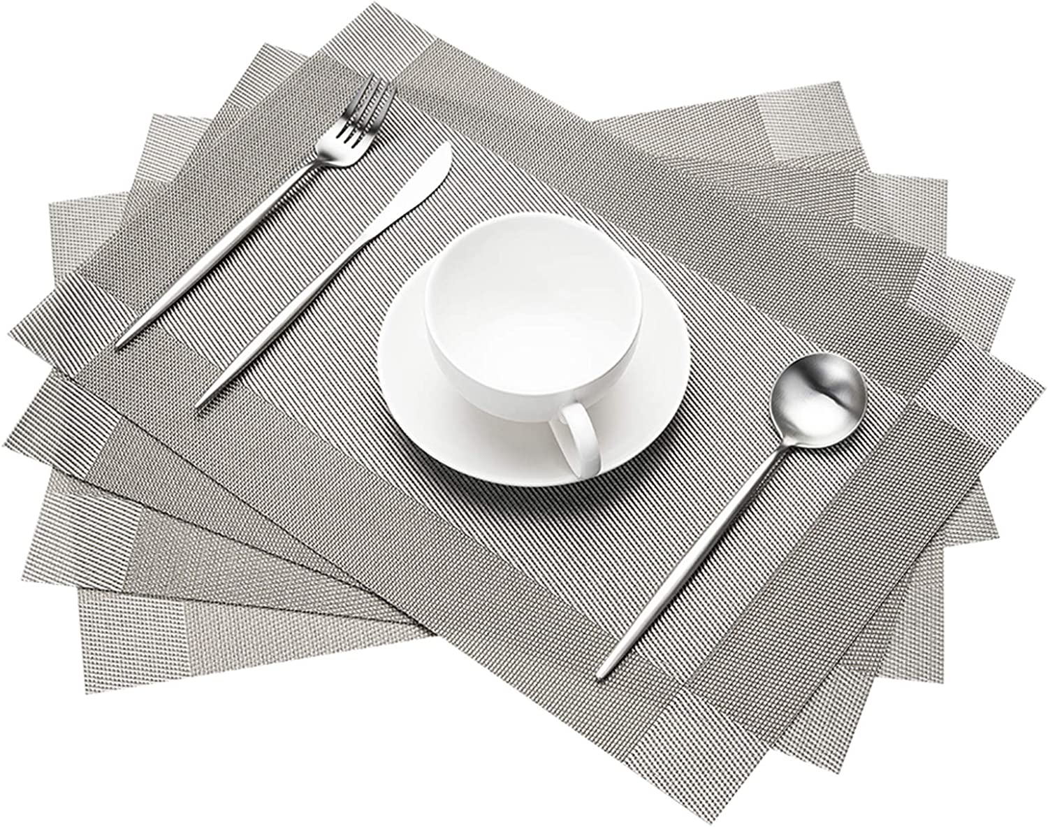 STELLAIRE CHERN Placemats for Dining Table Washable Woven Vinyl PVC Placemats Non-Slip Heat Resistant Kitchen Table Mats Set of 4 (Silver Grey)