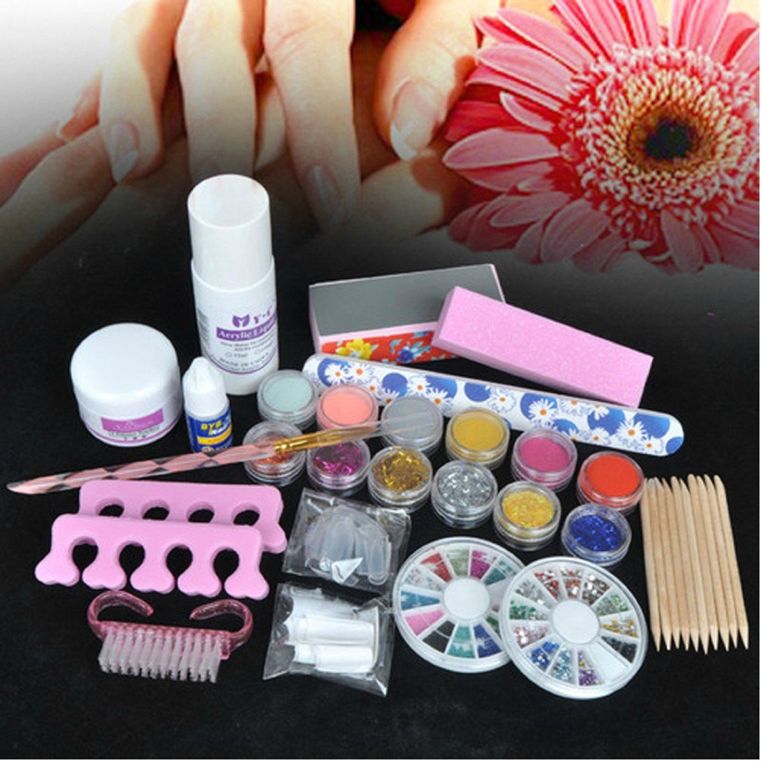 Amazon 350buy basic acrylic 6 powder liquid kits nail art tip amazon 350buy basic acrylic 6 powder liquid kits nail art tip kit 6 glitter tool beauty prinsesfo Images