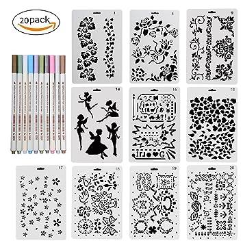 Set Von 10 Schablonen Wiederverwendbar Mit 10 Stifte In 10