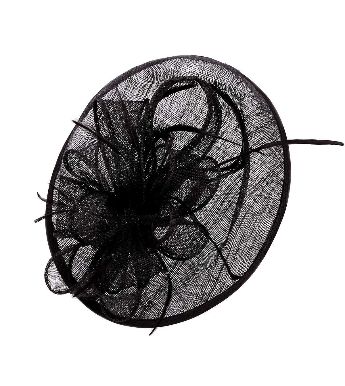 Felizhouse Sinamay Fascinators Wedding Derby Hats for Women Cocktail Tea Party Headband Ladies Head Piece Flower Feather Veil Pillbox Hat Hair Clip (Sinamay Hat - Bowknot Black)