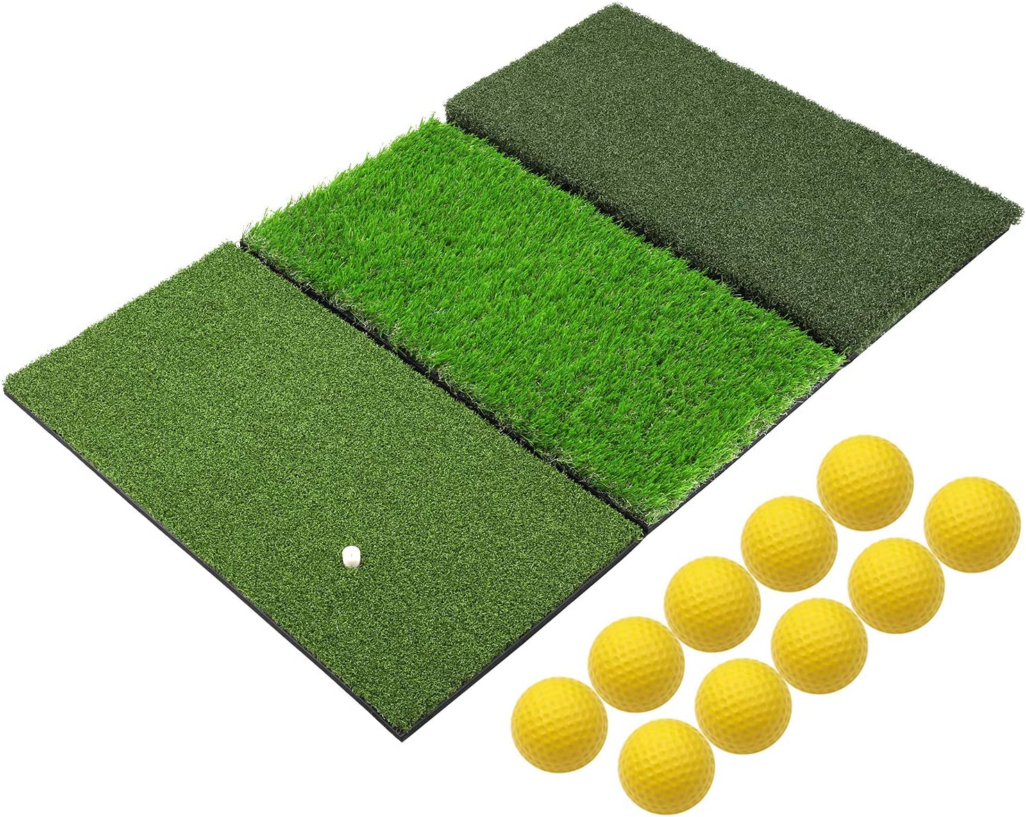 SkyLife 3-Turf Golf Hitting Grass Mat, Portable Training Fairway Rough TEE Turf, Driving Chipping Putting Golf Equipment, Home Backyard Garage Outdoor Practice