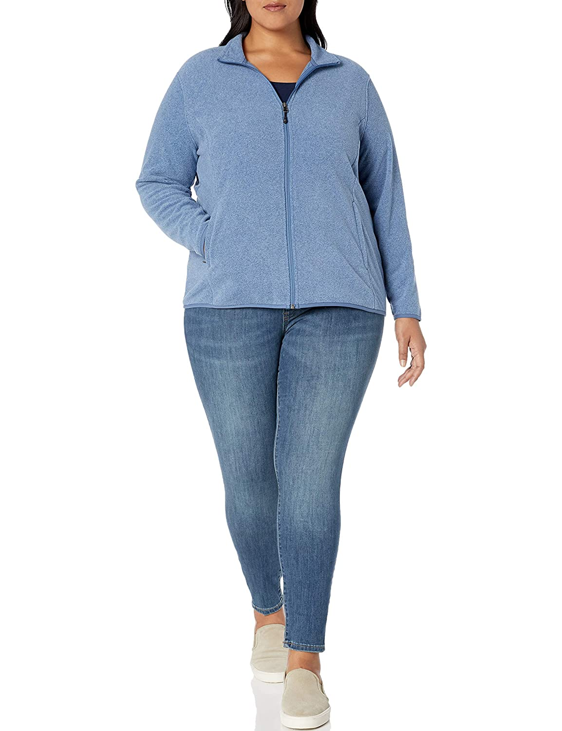 Amazon Essentials Plus Size Full-Zip Polar Fleece Jacket Femme Bleu Chiné