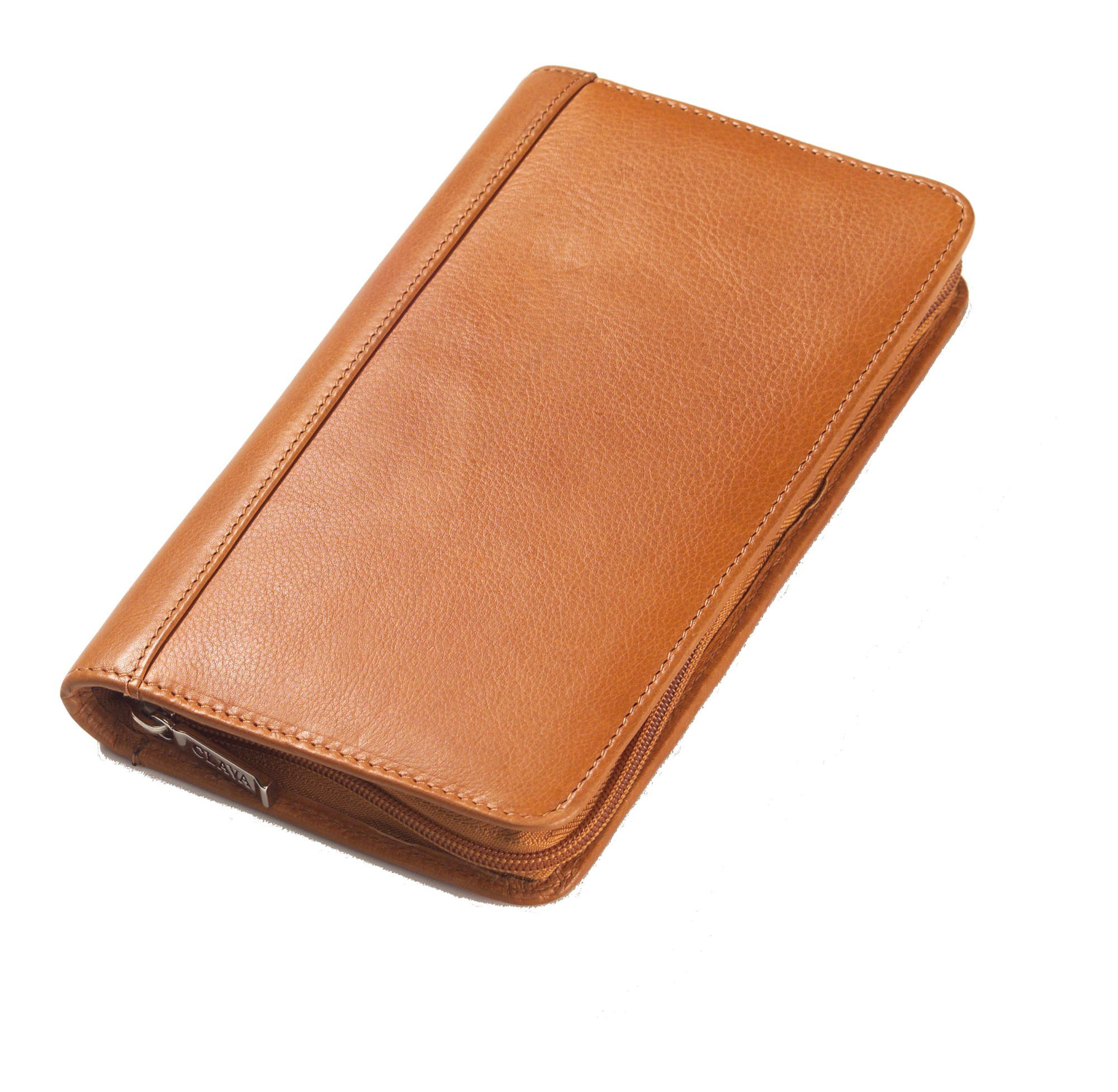 Glazed Leather Passport Travel Wallet Color: Tuscan Tan by Clava Leather
