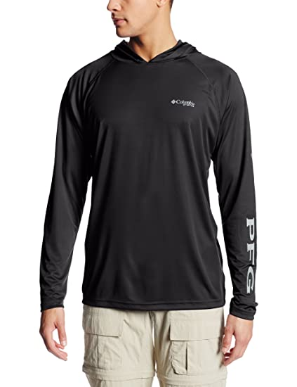 7a1ee64d94b Columbia Men's Terminal Tackle Sun Hoodie, Moisture Wicking, Black, Cool  Grey Logo,