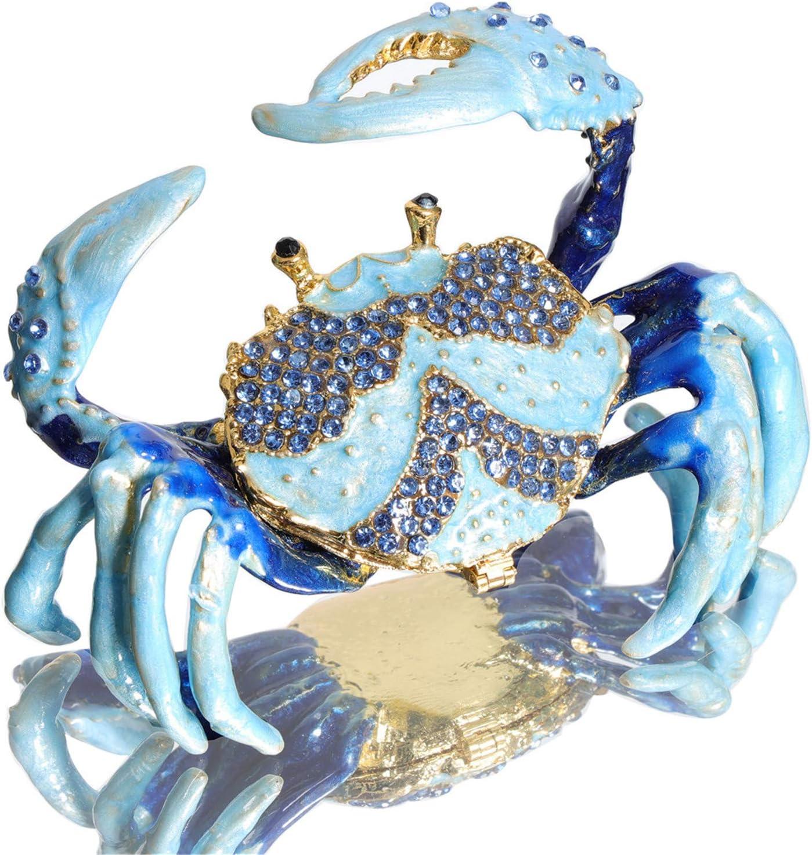 Waltz&F Blue Crab Metal Ring Holder Jewelry Box Hinged Trinket Box Handmade Collectible Figurine Table Centerpiece Decor
