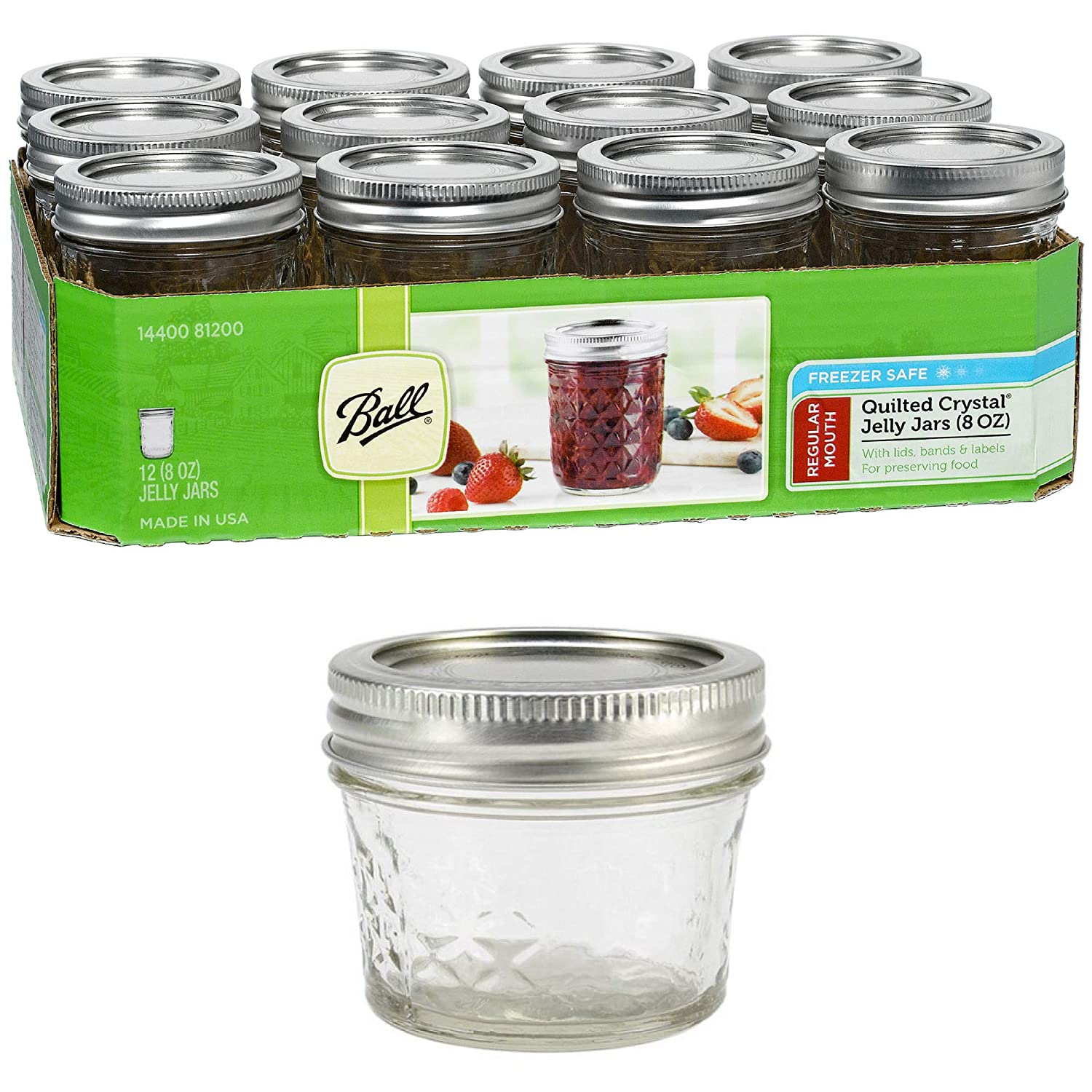 Ball Collection Elite Wide Mouth Half-Pint 8 Oz. Glass Mason Jars with Lids and Bands, 4 Count (Blue + Jelly Jar)