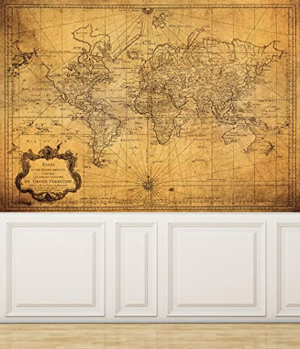 Wall mural vintage map of the world peel and stick repositionable wall mural vintage map of the world peel and stick repositionable fabric wallpaper for interior gumiabroncs Images
