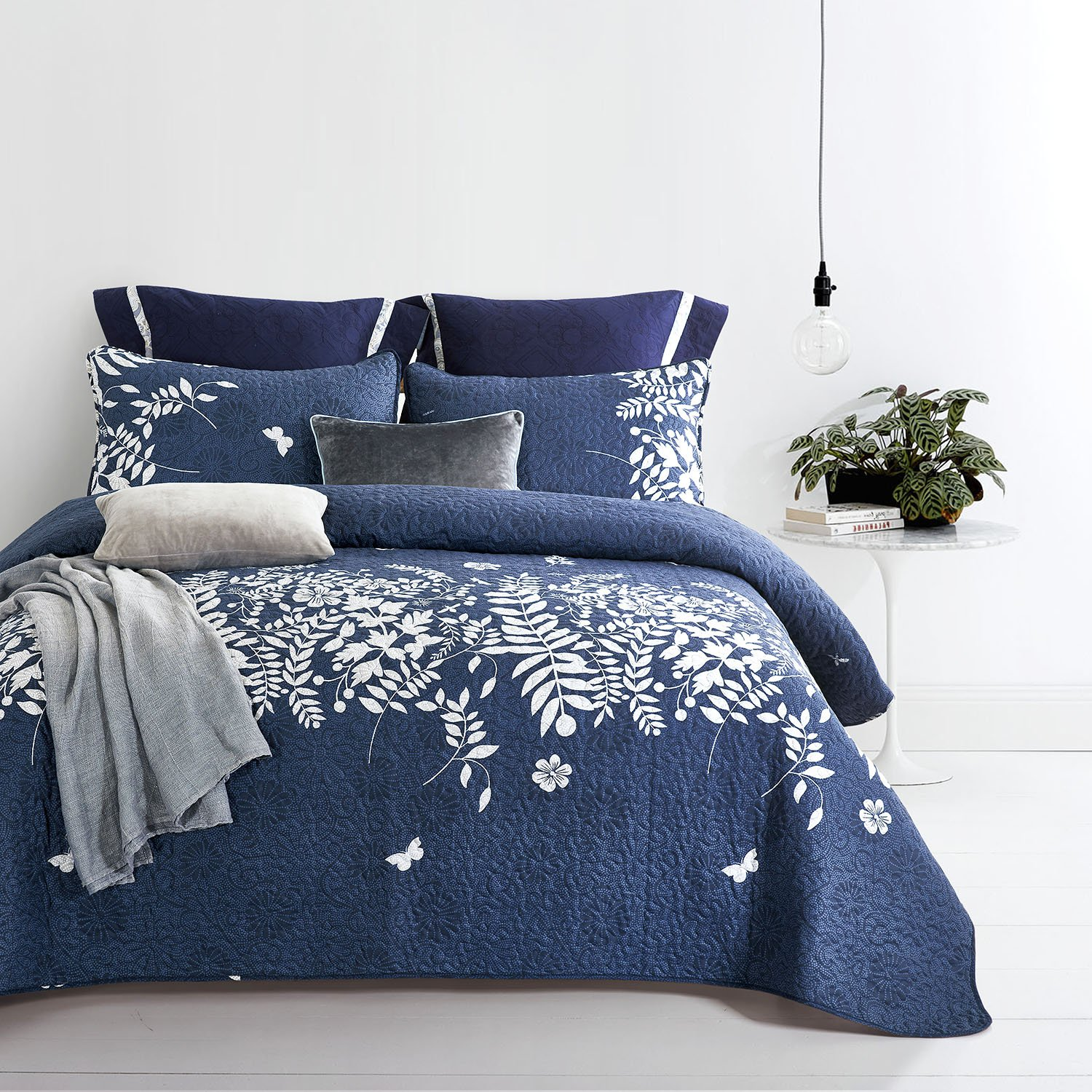 Wake In Cloud - Navy Blue Quilt Set, Gray Grey Floral Flowers Tree Leaves Modern Pattern Printed, Soft Microfiber Bedspread Coverlet Bedding (3pcs, King Size) by Wake In Cloud (Image #3)