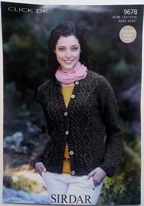 1950b14db Sirdar Click DK Women s Cardigan Knitting Pattern 9678  Amazon.co.uk   Kitchen   Home