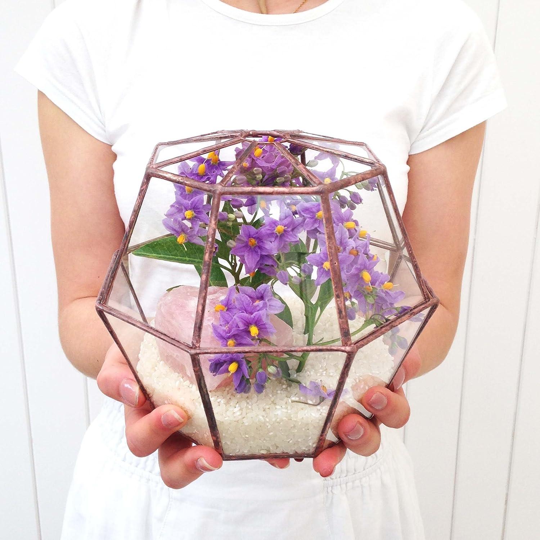 Octagon Geometrische Glas Terrarium/Übertopf Modern/für den Gartenbau/Handgefertigt von loveglass, glas, bronze, 18x18x17