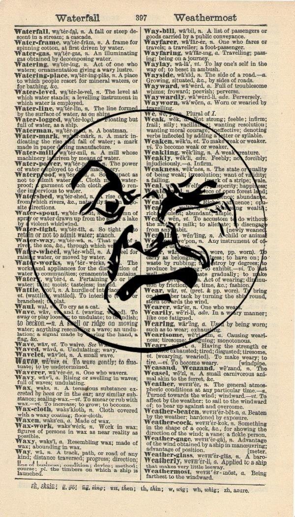 ANGRY MOON ART PRINT - VINTAGE ART PRINT - STEAMPUNK Art Print - Illustration - Vintage Dictionary Art Print - Wall Hanging - Home Décor - Housewares - Book Print - WALL ART - Art Print 205B Vintage Reflectionz