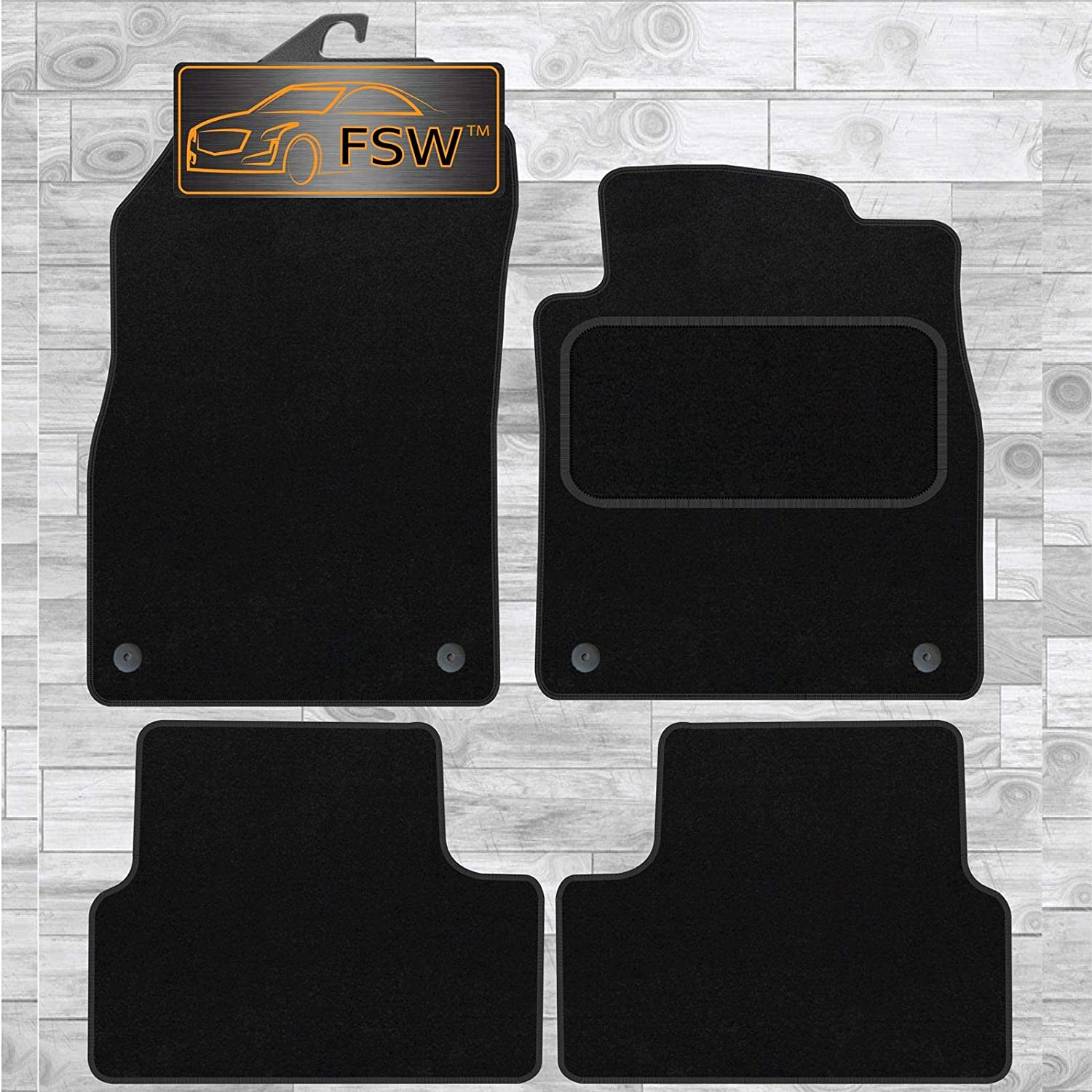 FSW Astra 2010-2015 325Mm Clips Space Tailored Classic Carpet Car Floor Mats Black