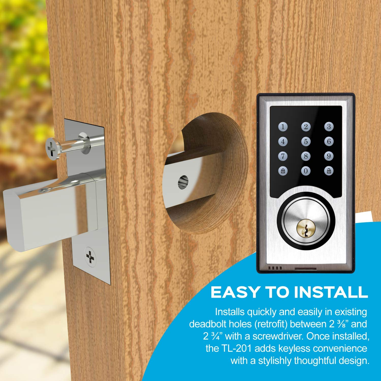 TURBOLOCK TL-201 Electronic Keypad Deadbolt Keyless Entry Door Lock w/Code Disguise, 21 Programmable Codes, 1-Touch Locking + 3 Backup Keys, Bronze by TURBOLOCK (Image #7)