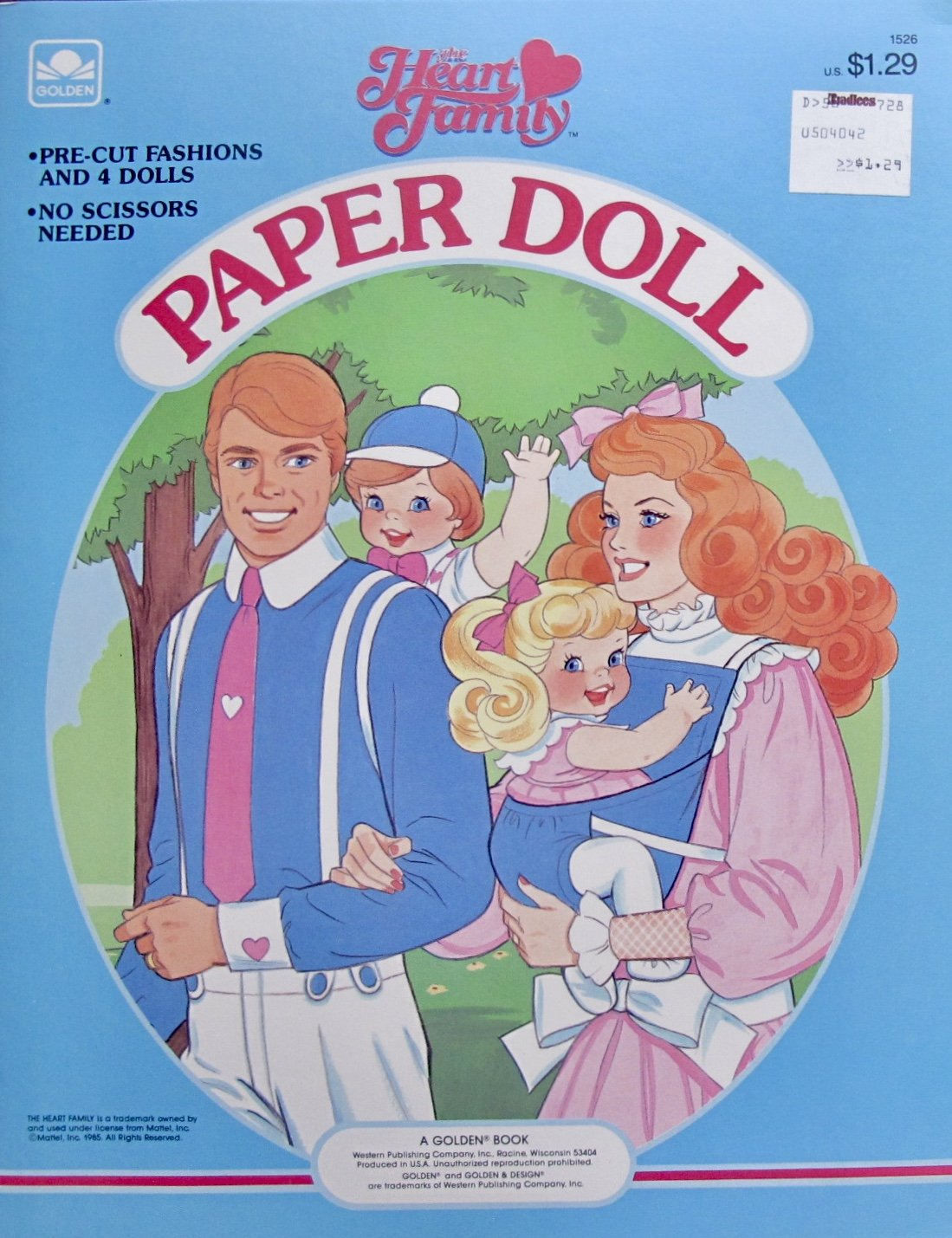 Golden The HEART FAMILY PAPER DOLL BOOK (UNCUT) w 4 Card Stock DOLLS & Pre-Cut FASHIONS (1985 Mattel)